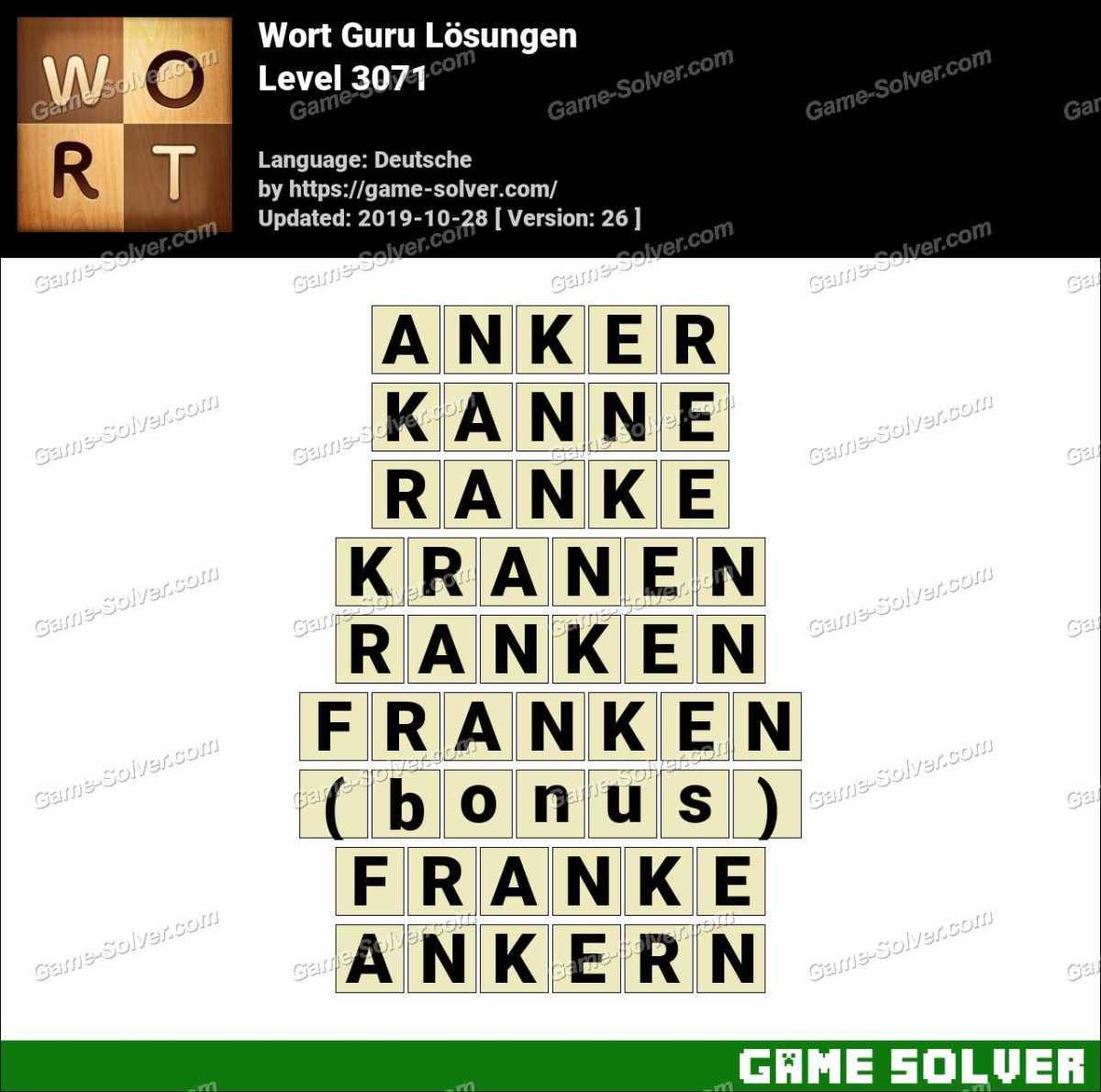 Wort Guru Level 3071 Lösungen