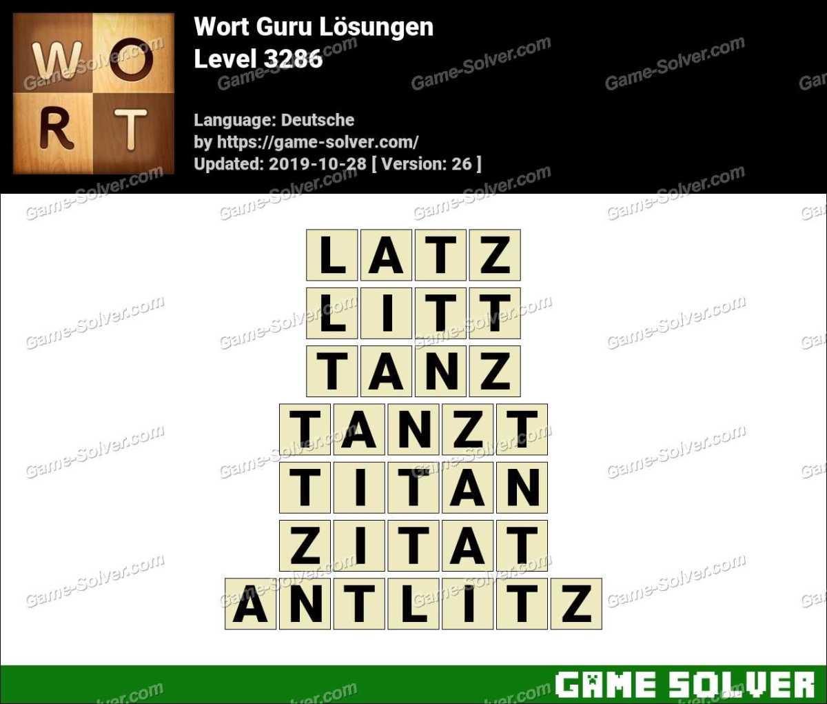 Wort Guru Level 3286 Lösungen