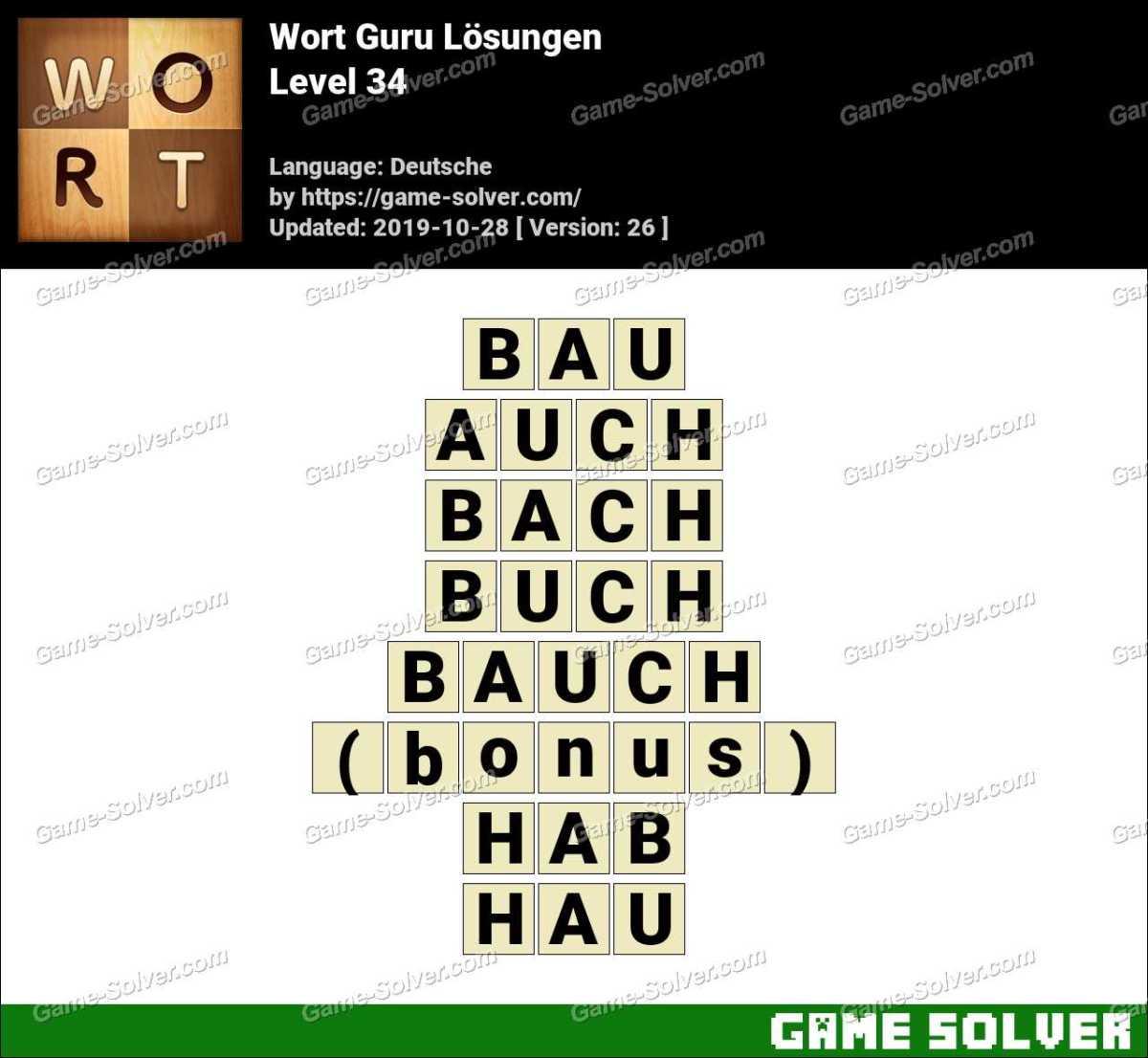 Wort Guru Level 34 Lösungen
