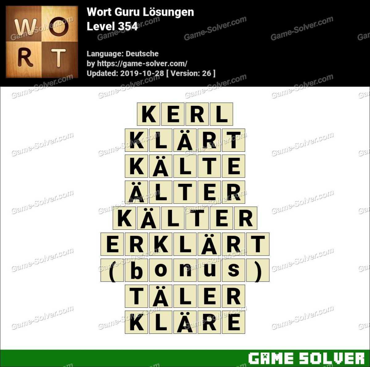 Wort Guru Level 354 Lösungen