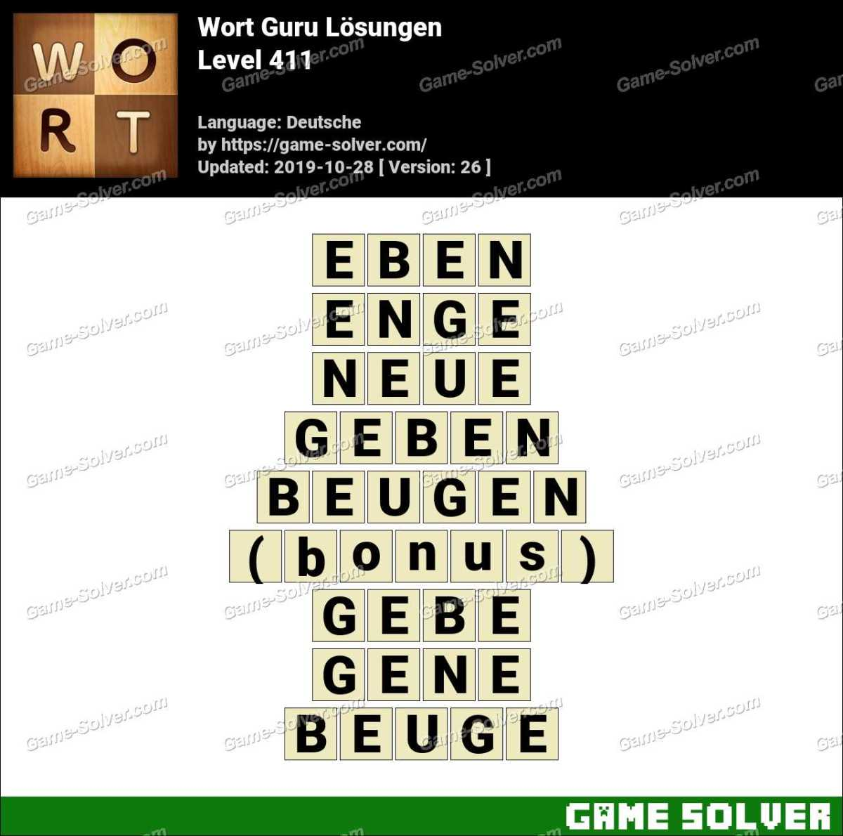 Wort Guru Level 411 Lösungen