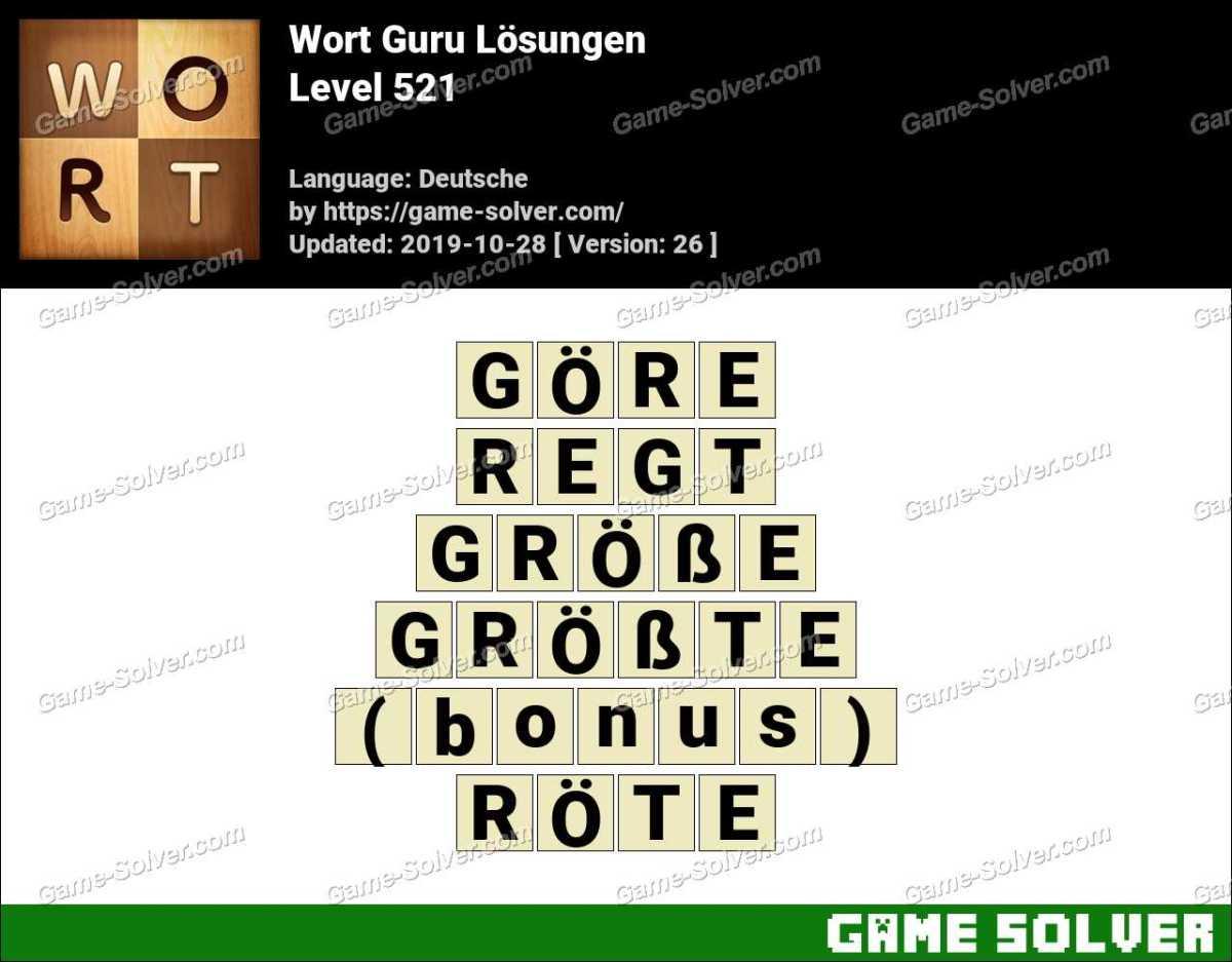 Wort Guru Level 521 Lösungen