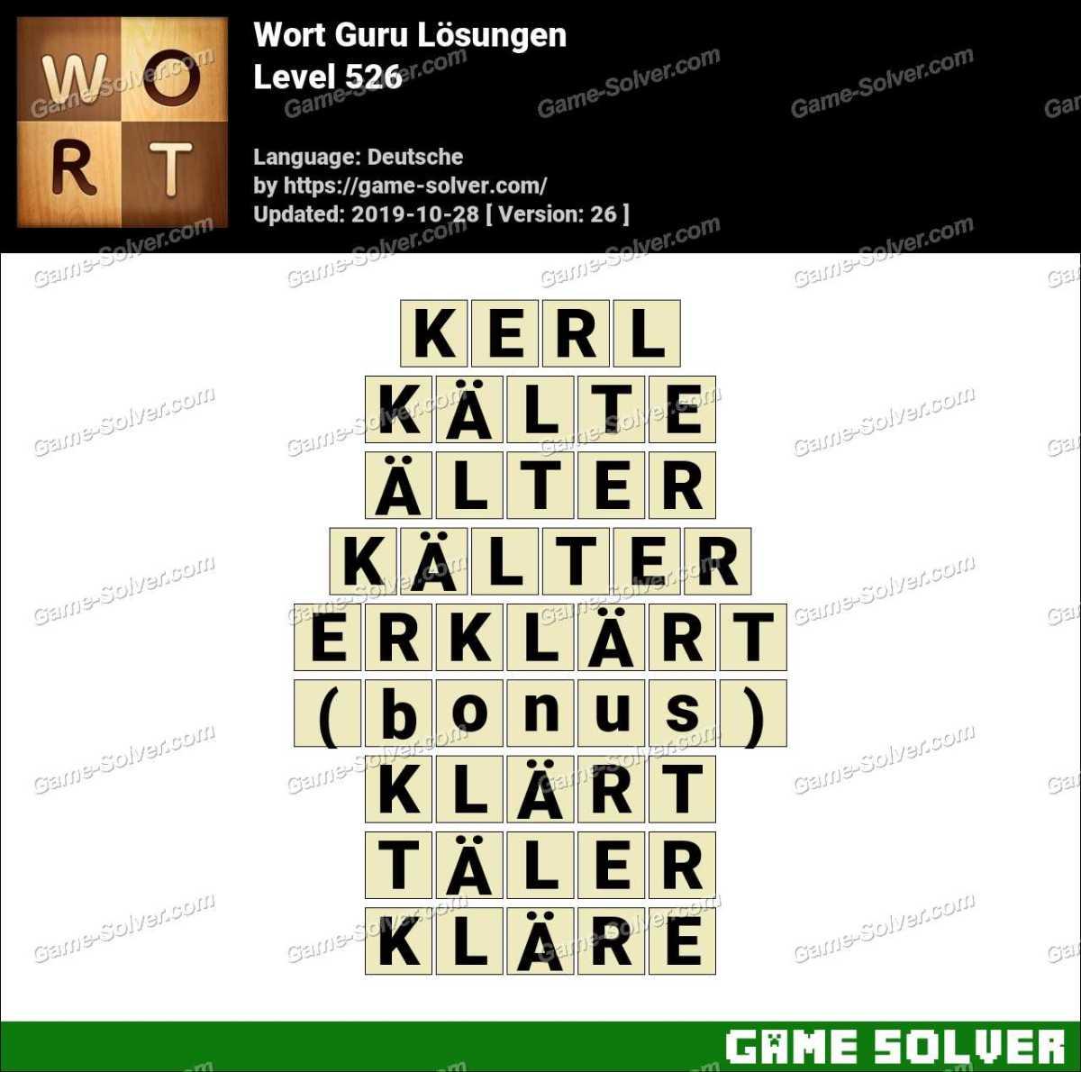 Wort Guru Level 526 Lösungen