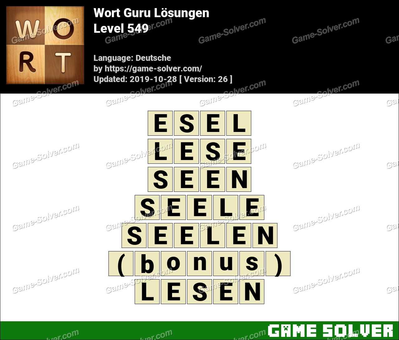 Wort Guru Level 549 Lösungen