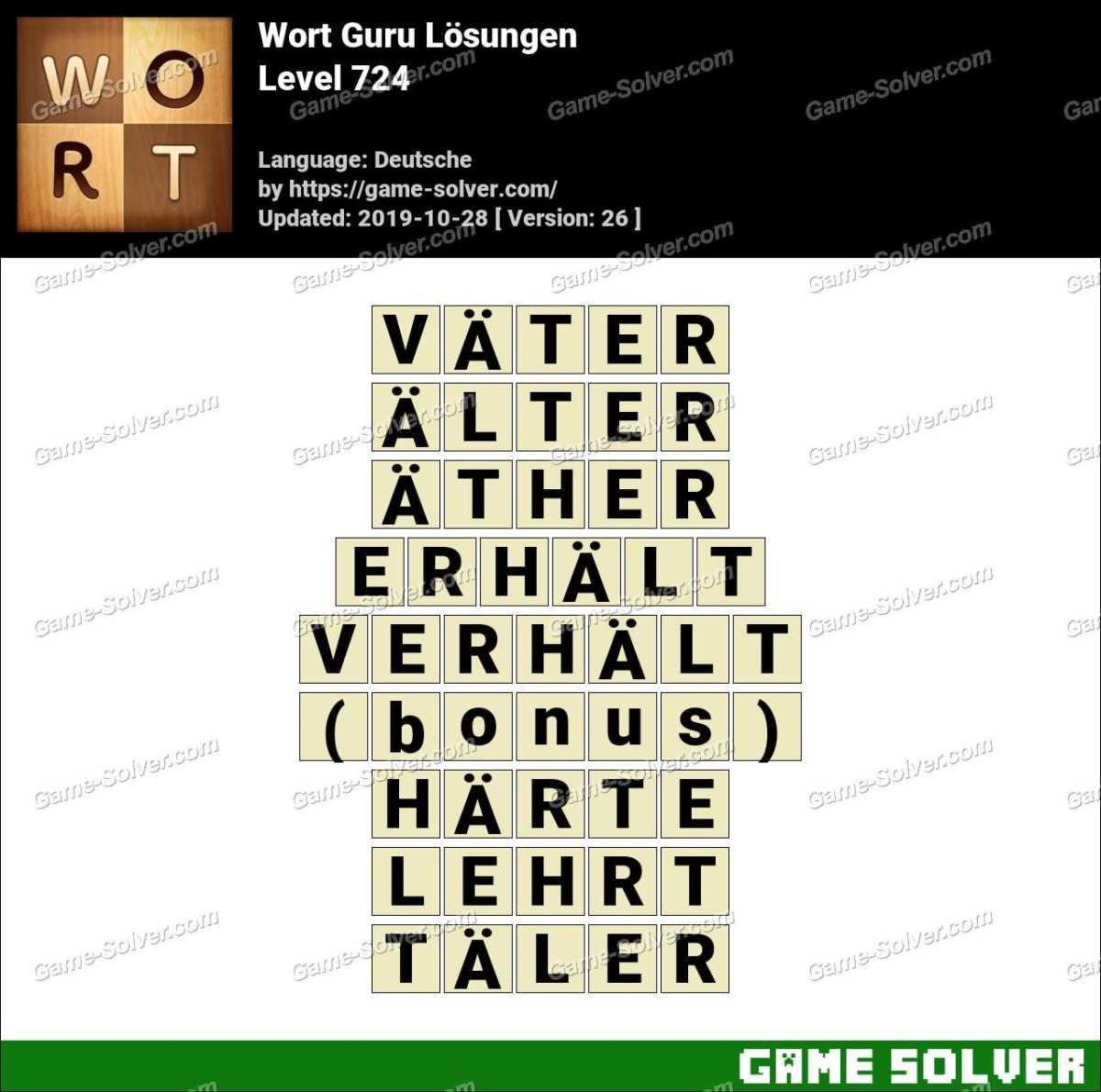 Wort Guru Level 724 Lösungen