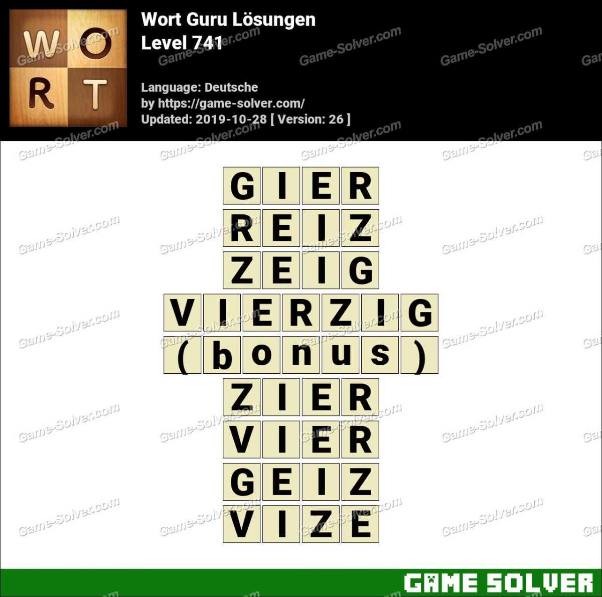 Wort Guru Level 741 Lösungen