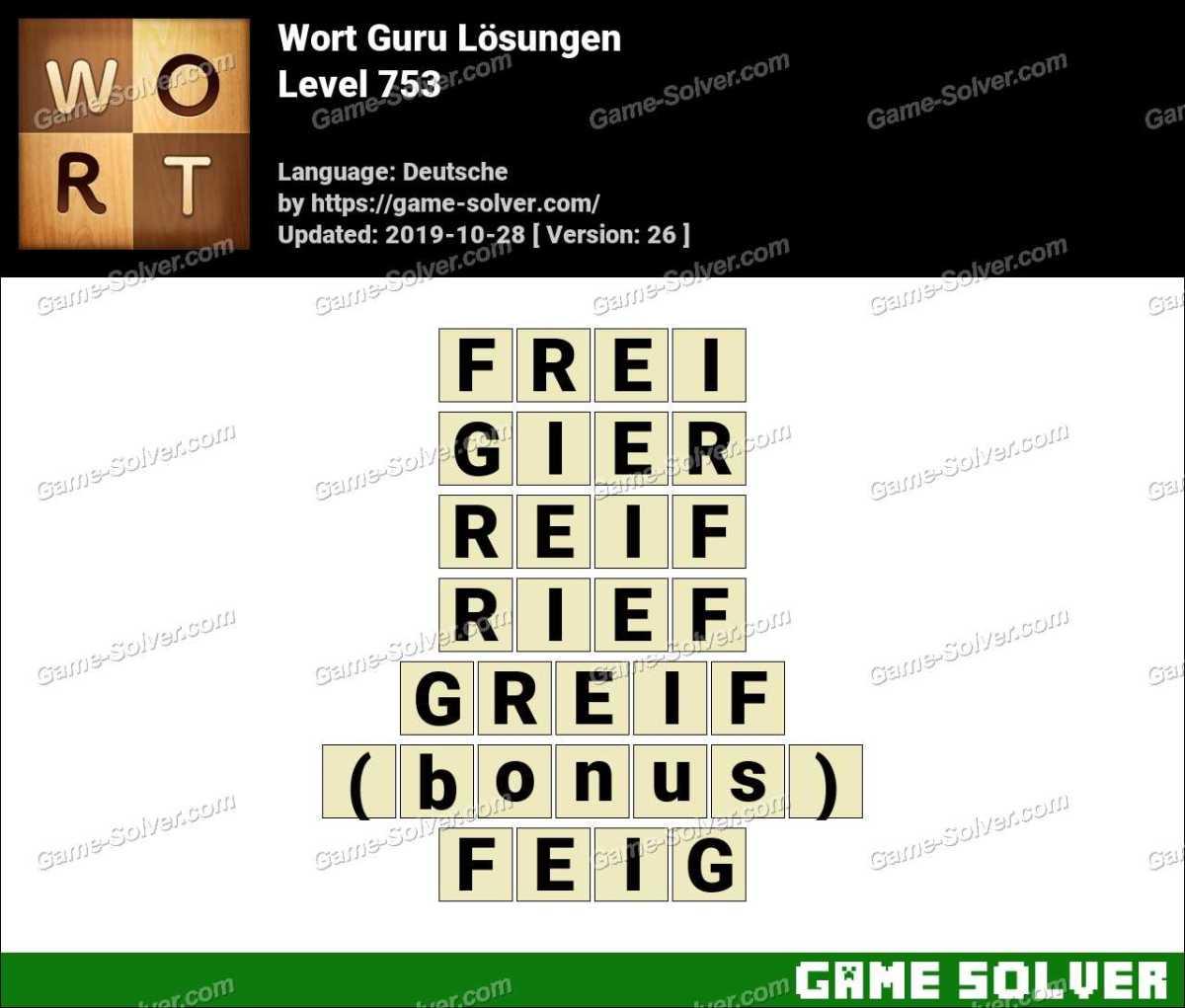 Wort Guru Level 753 Lösungen