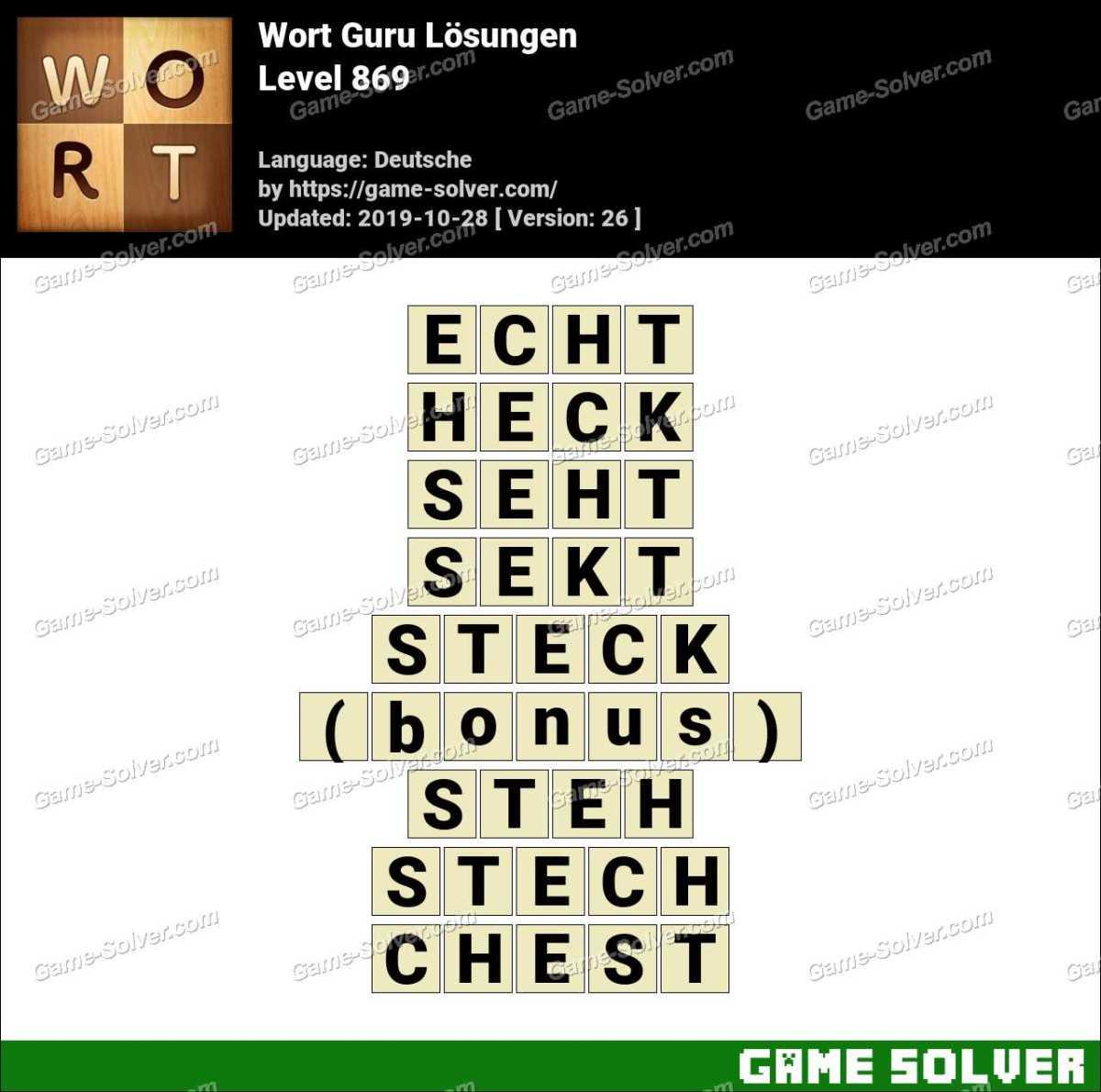 Wort Guru Level 869 Lösungen
