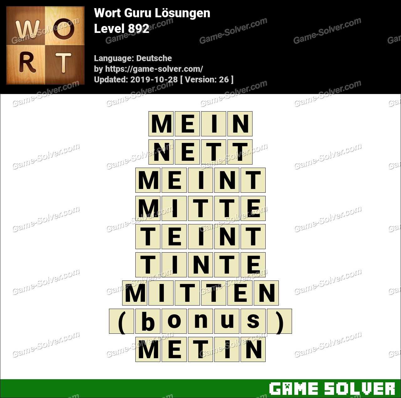 Wort Guru Level 892 Lösungen