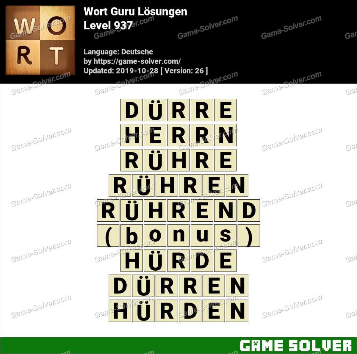 Wort Guru Level 937 Lösungen
