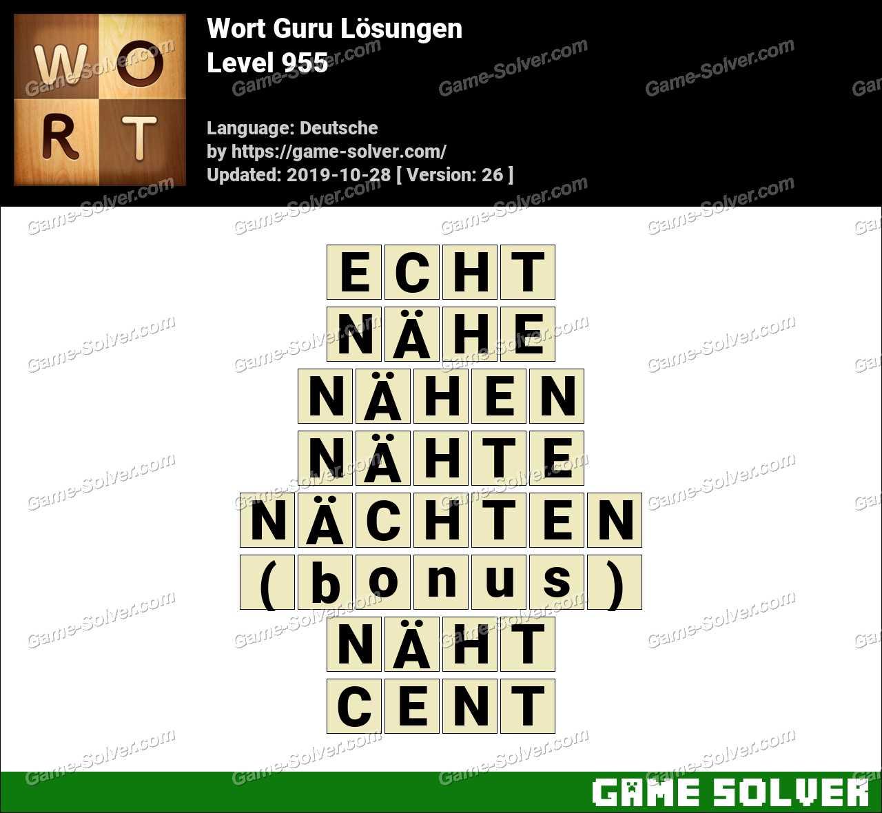 Wort Guru Level 955 Lösungen