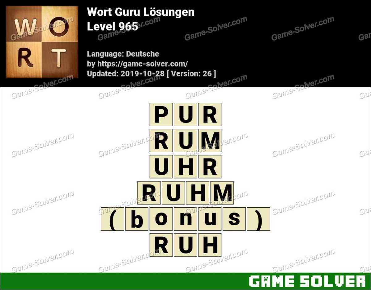 Wort Guru Level 965 Lösungen