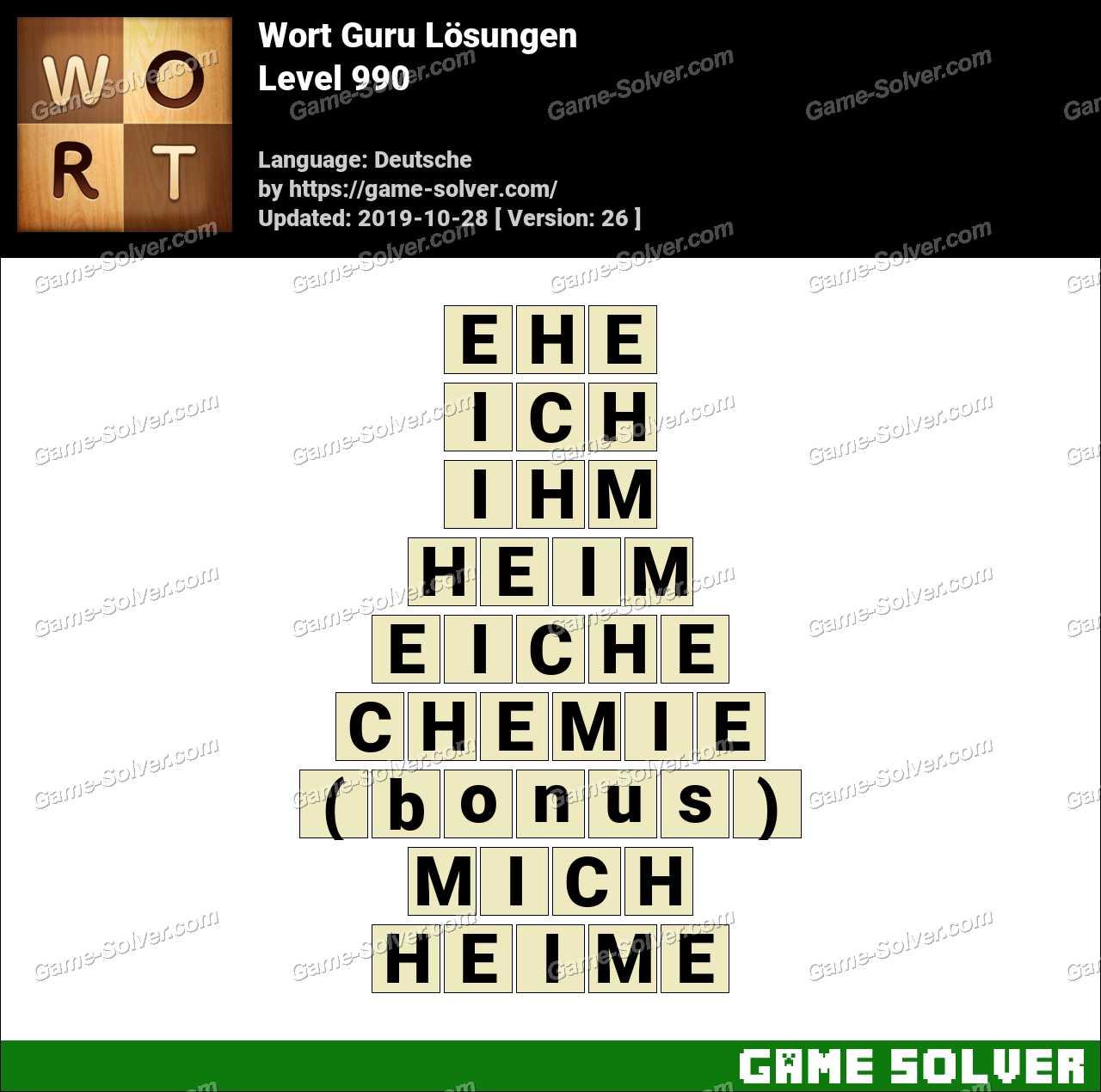 Wort Guru Level 990 Lösungen
