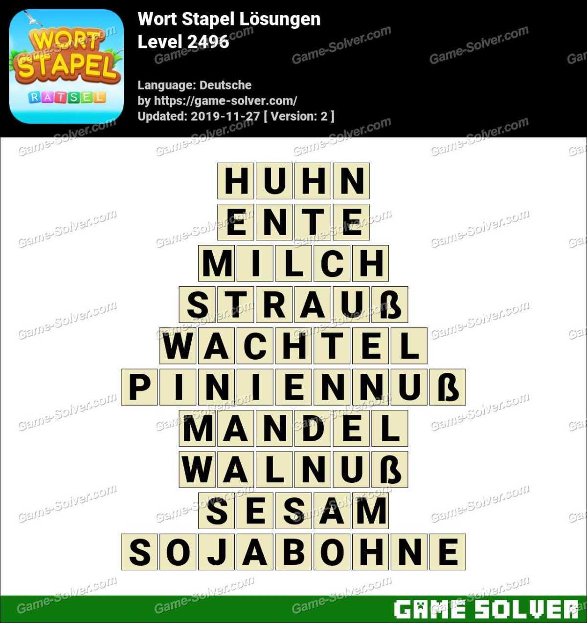 Wort Stapel Level 2496 Lösungen