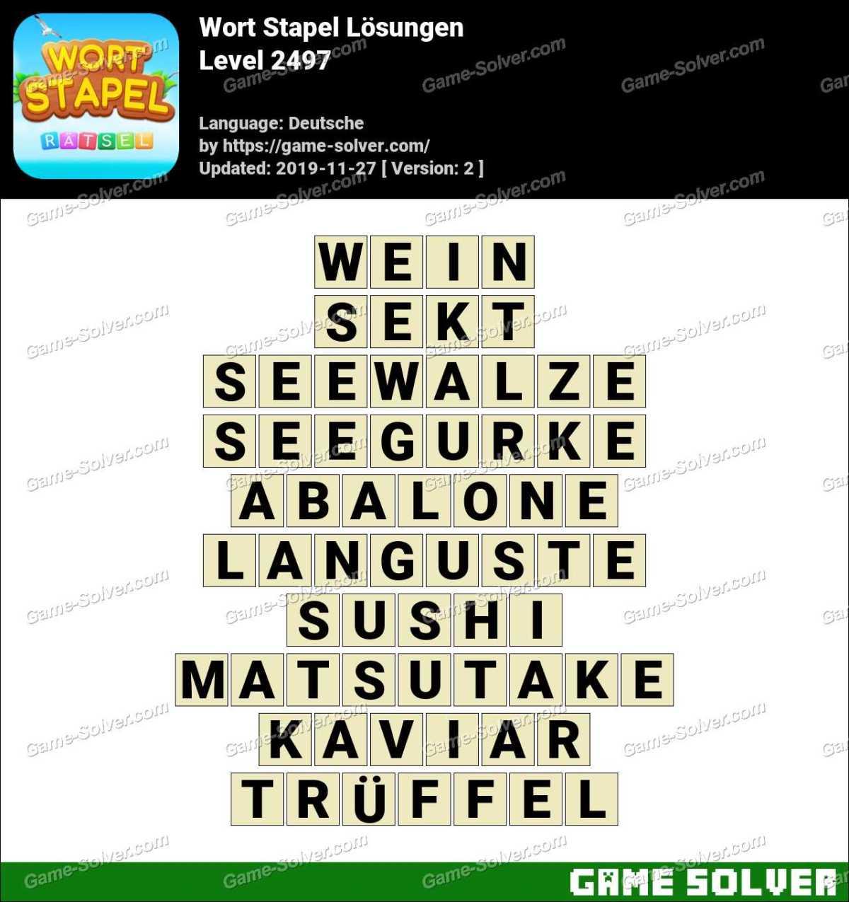 Wort Stapel Level 2497 Lösungen