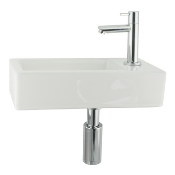 ensemble de lave mains helios blanc avec robinet et siphon
