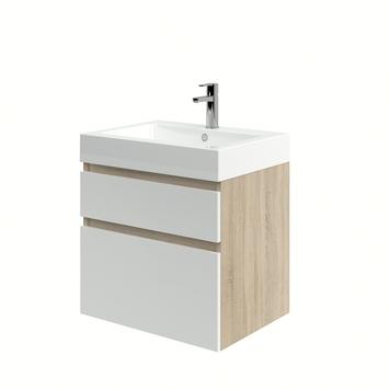 meuble de salle de bain monta avec lavabo chene gris blanc haute brillance 60 cm