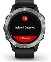 fēnix 6 con la schermata delle funzioni di sicurezza e monitoraggio