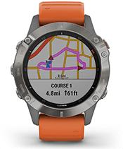 fēnix 6 Pro y Zafiro con la pantalla de rutas