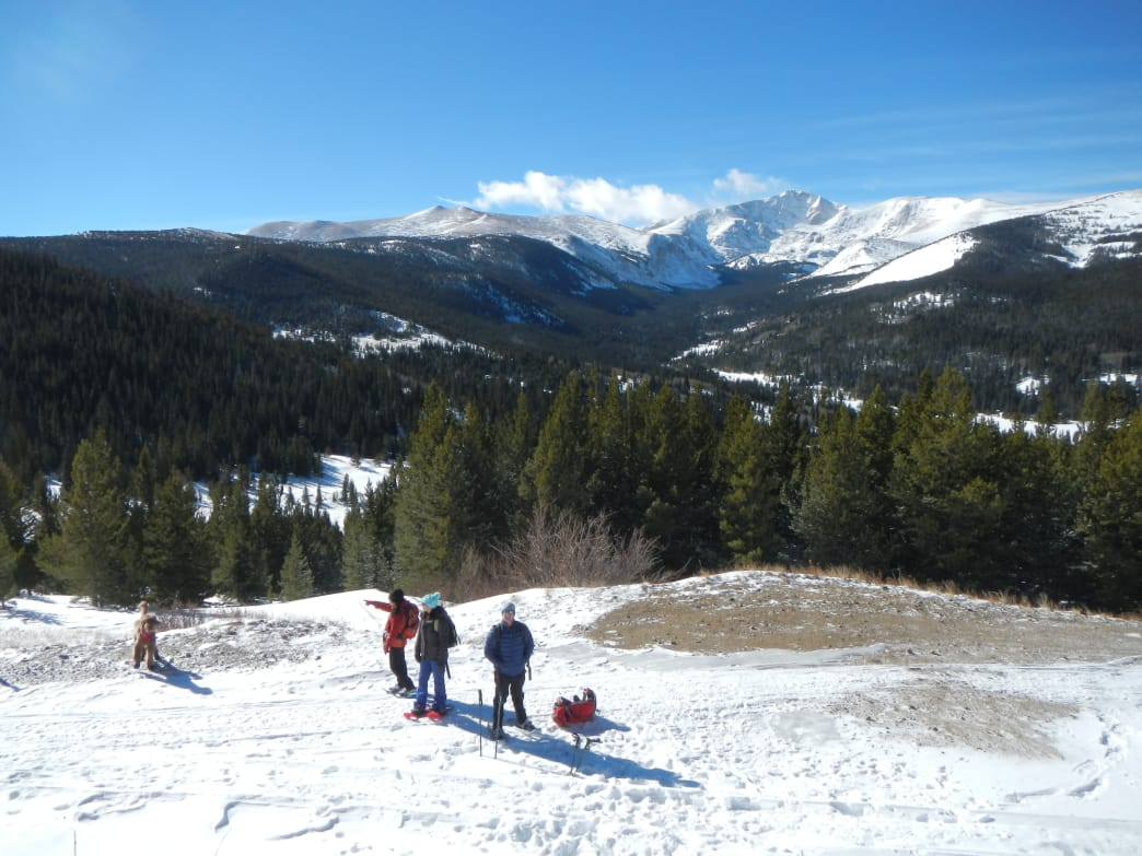 The upper portion of the Mammoth Gulch Road has wide open views of the Indian Peaks. James Dziezynski
