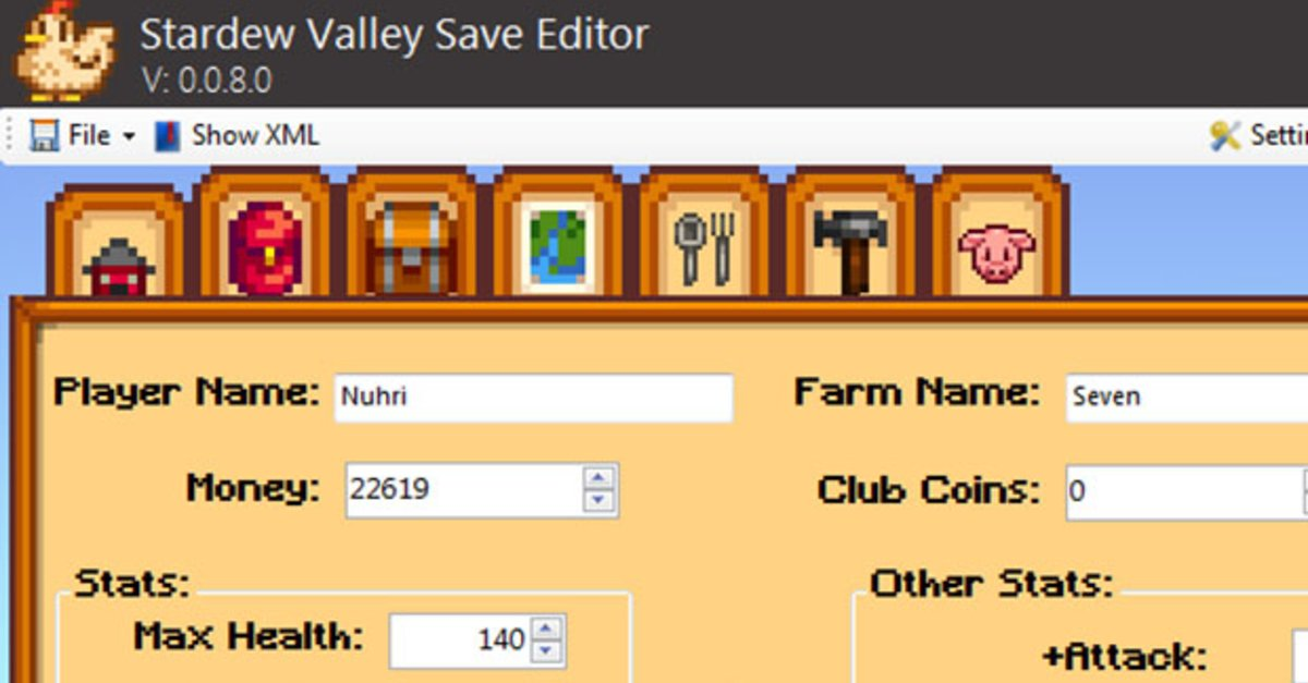 Stardew Valley Save Editor Download Ndert Inventory Items Charakter Werte Haustier Farm
