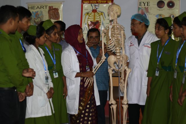 Students attend anatomy class at the Moimuna Nursing Institute. The first group of students comprises 20 underprivileged, rural students, mostly rural girls. Credit: Farid Ahmed/IPS