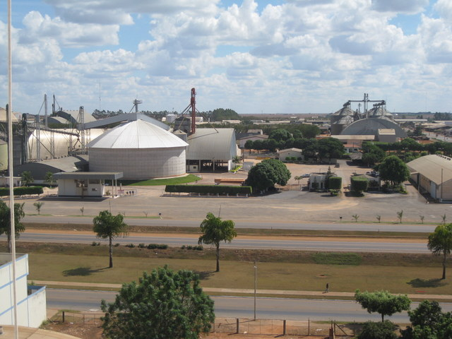 Silos and warehouses in the town of Lucas do Rio Verde, one of the soybean capitals of Mato Grosso, a state in northern Brazil, reflect the strength of local agriculture, which leads the country's soybean, corn and cotton production. CREDIT: Mario Osava/IPS