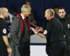 Arsene Wenger talks to Mike Dean as Arsenal held 1-1 at West Brom