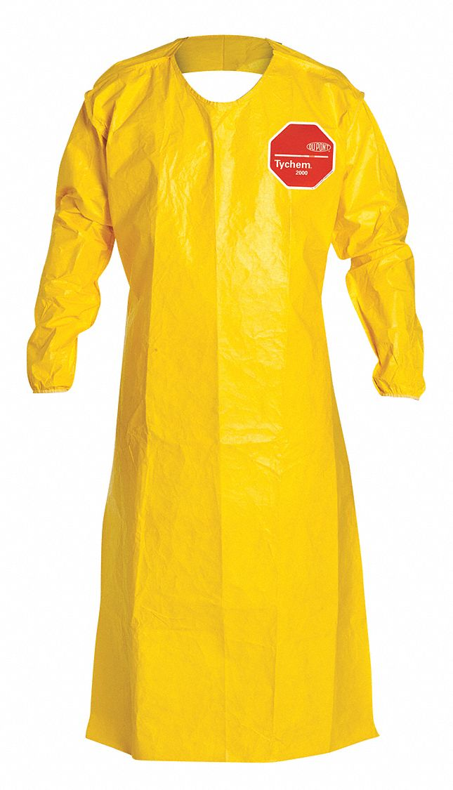 DUPONT Chemical Resistant Sleeve Apron Yellow 52 Length Tychem 2000 Material PK 12