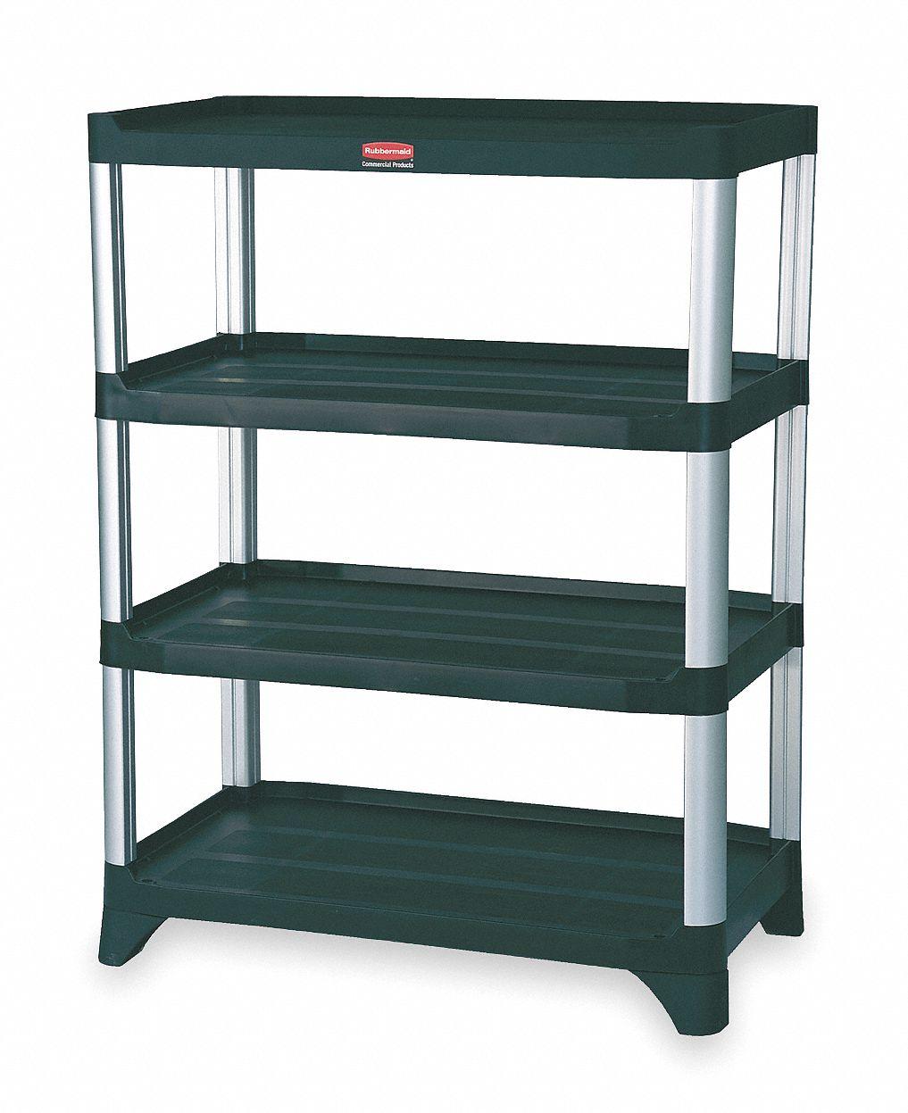 open freestanding plastic shelving overall width 20 in overall depth 35 in