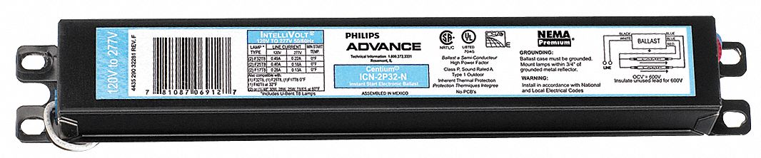 PHILIPS ADVANCE Electronic Ballast, 32 Max Lamp Watts