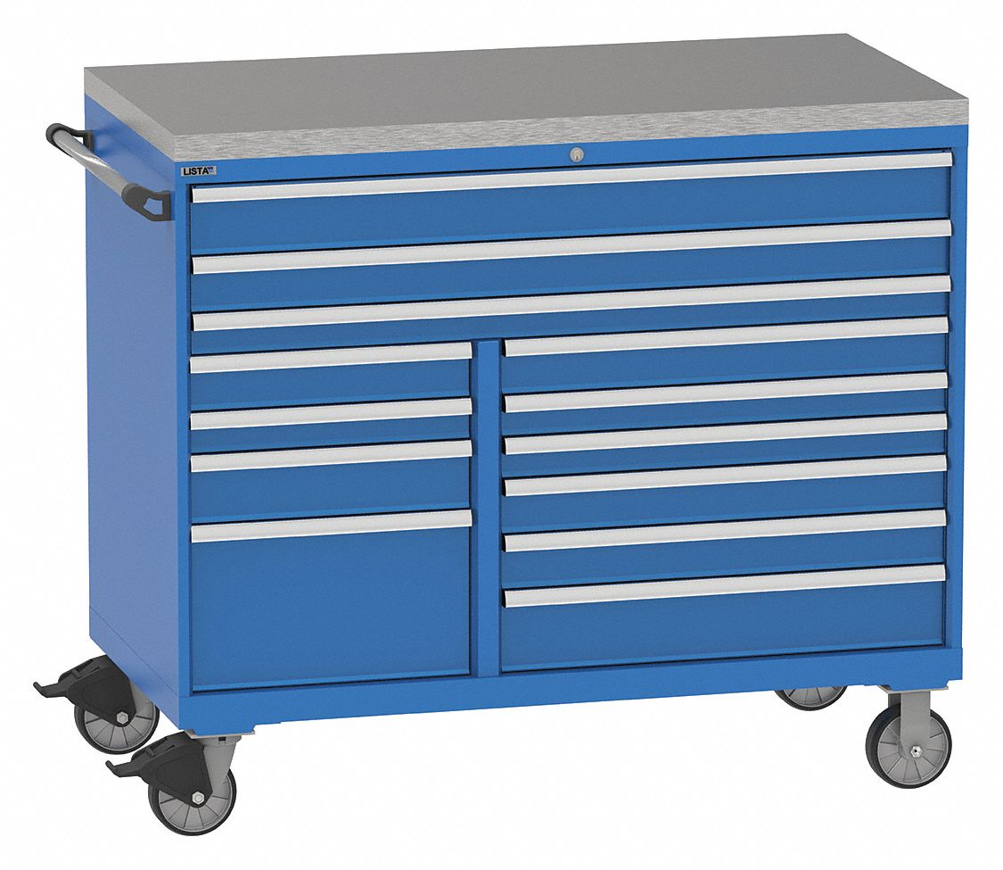 Mobile Counter Height Modular Drawer Cabinet 13 Drawers 60 W X 28 D X 48 H Bright Blue