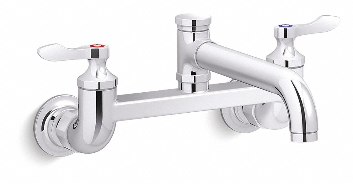 low arc laundry sink faucet wristblade faucet handle type 1 8 gpm polished chrome
