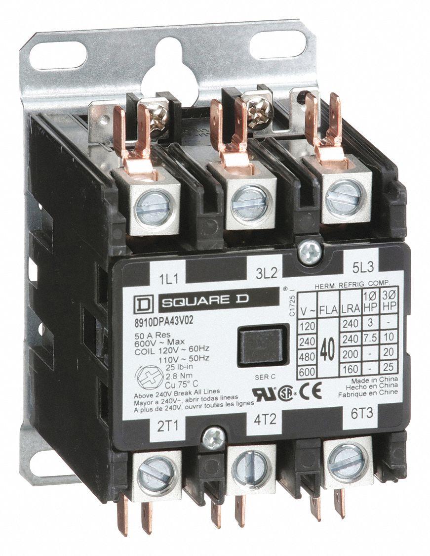 SQUARE D 120VAC Definite Purpose Contactor; No of Poles 3, 40 Full Load AmpsInductive  5KAL5