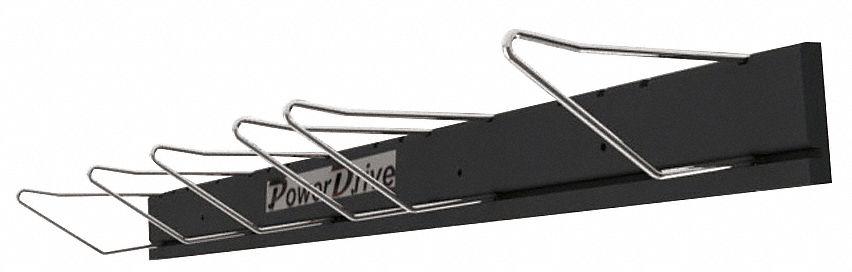 v belt wall rack 36in l w six 6in hooks