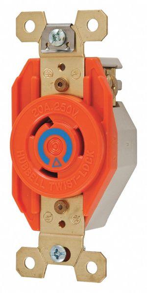 HUBBELL WIRING DEVICEKELLEMS Orange Locking Receptacle, 20 Amps, 240VAC Voltage, NEMA