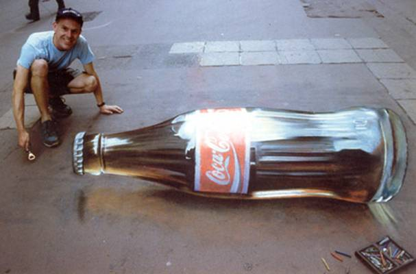 Julian Beever Coke Bottle Drawing