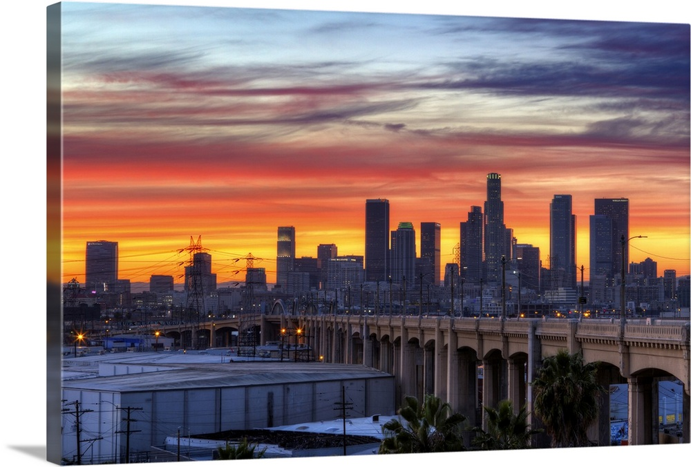 Iconic 6th bridge at dusk in Los Angeles, US. Wall Art ...