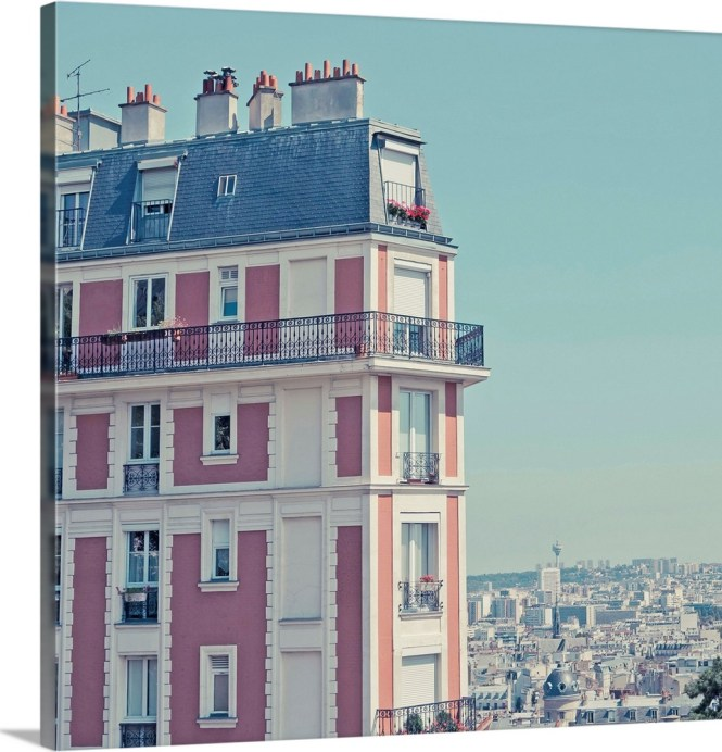 Orange Apartment Building With View Over Paris Montmartre France Wall Art