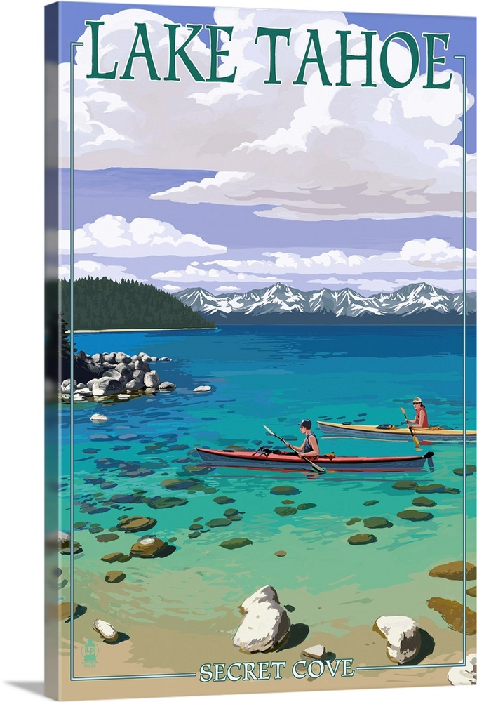 lake tahoe kayakers in secret cove retro travel poster solid faced canvas print