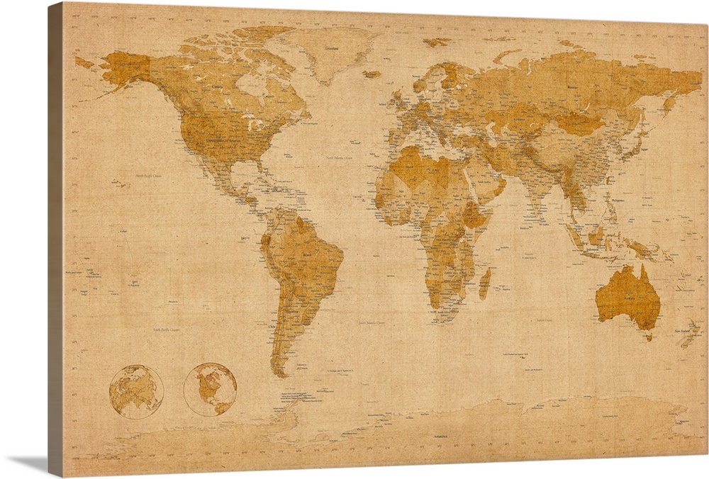 Map of the world in antique style Wall Art  Canvas Prints  Framed     Map of the world in antique style