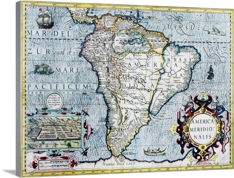 17th century map of South America Wall Art  Canvas Prints  Framed     17th century map of South America