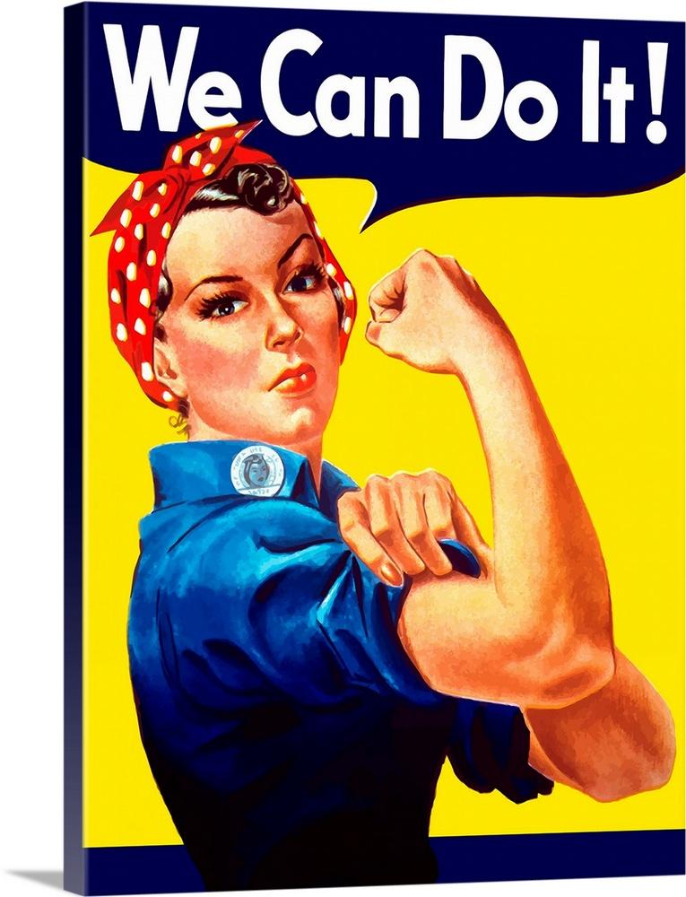 Digitally restored vector war propaganda poster. Rosie The Riveter vintage war poster