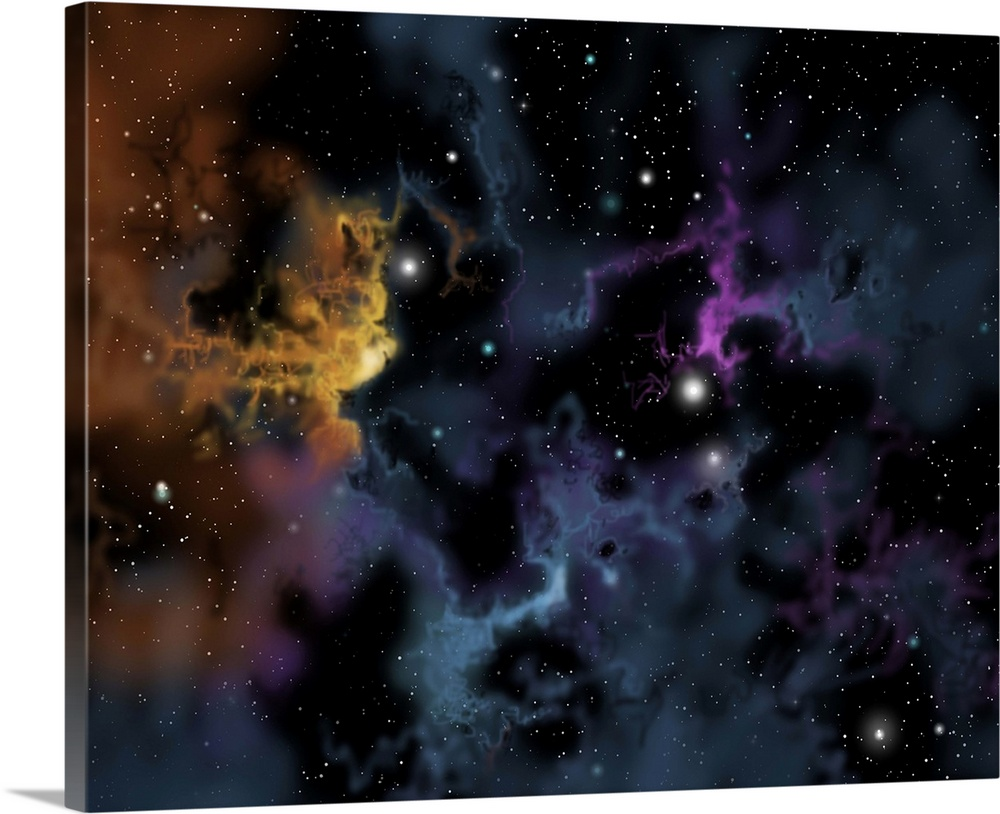 Illustration of a gaseous nebula from which star formation ...