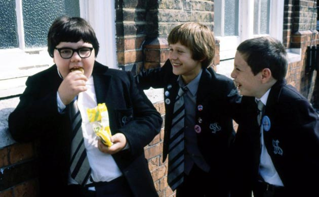 Kids from UK TV show Grange Hill hanging out