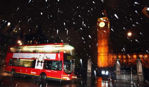 Snow blankets London for Global Warming debate – first