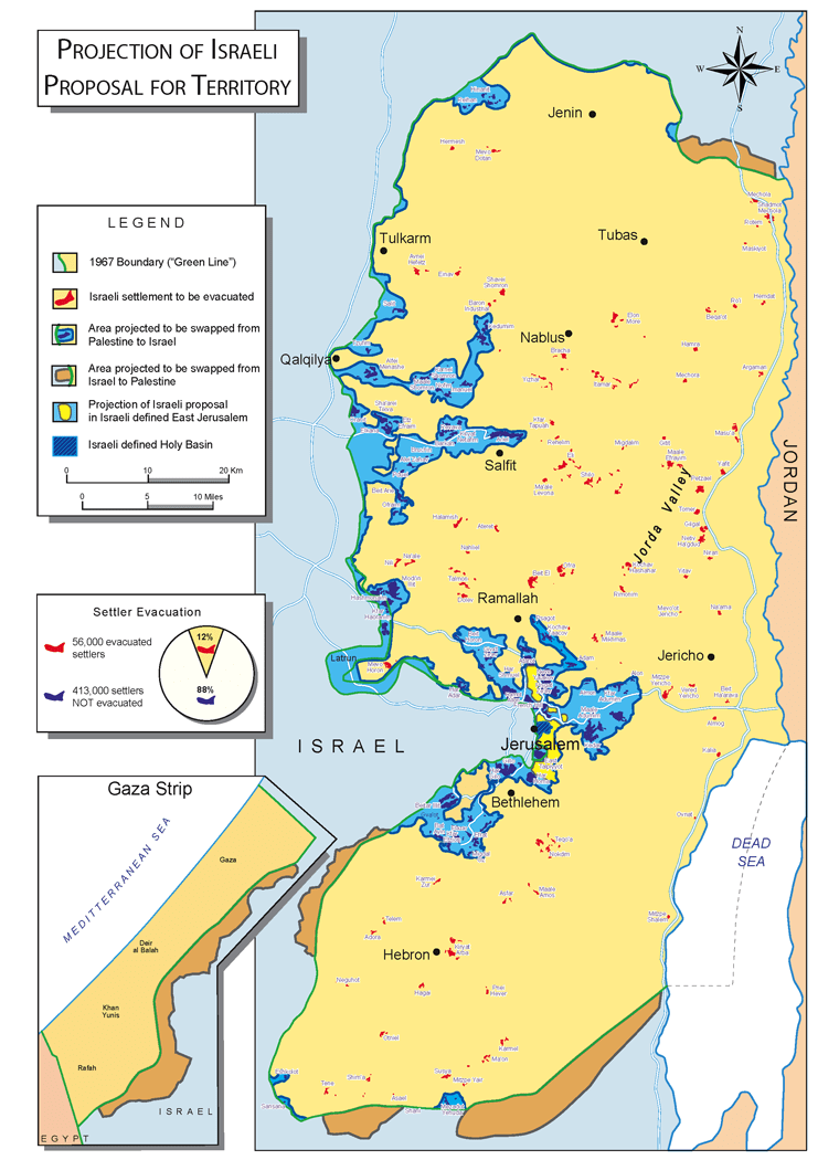 Israeli proposal for borders of West Bank according PM Olmert