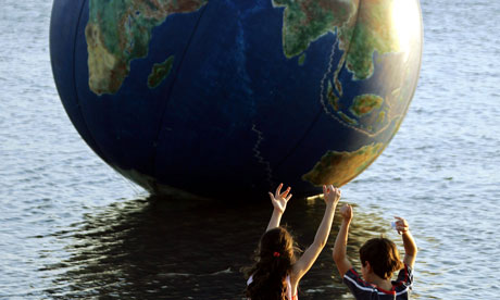Globe and children