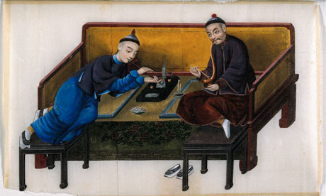 Painting: two Chinese opium smokers