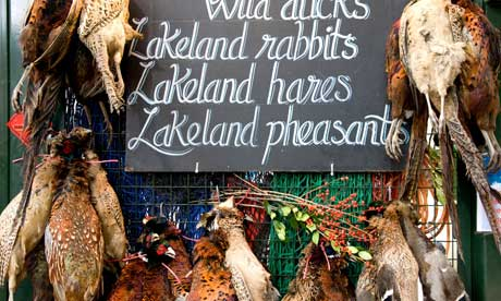 Lakeland pheasants on a stall at Borough Market.